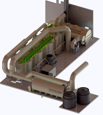 Laveur horizontal OdoSorb® pour le lavage de l'air, innovation TC innov, anciennement TC Plastic, solutions de traitement des odeurs contre les nuisances olfactives